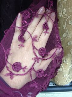 Detail of embroidered stretch lace