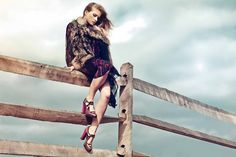 Fur Vest over Berry Dress and Shoes.. gorgeous