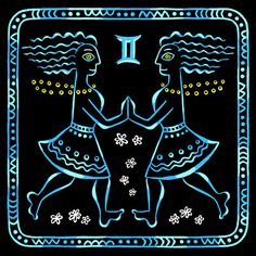 Ethnical Zodiac (Gemini) - A series of illustrations for postcard and stationery design. Gouache on black paper, approx. 20*20 cm (8*8 in) each.