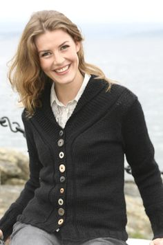 Love the buttons and casual style | Drops free pattern ~ knit in 10ply Aran of a silk/alpaca combination ~ unfortunately the yarn recommended by Garnstudio is now discontinued ~ size SM to XXXL