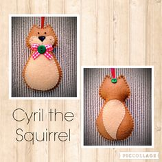Hand stitched Felt Squirrel Christmas ornament