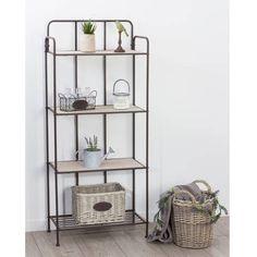 Etagére 4 étages en métal et bois, 60,5 x P 30 x H 137,5 cm