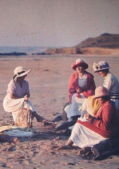 Autochrome, 1920s --- Gustave Gain, France, woman on the beach