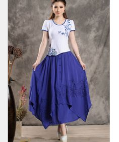 Purple Blue Long Maxi Skirt High Waisted Soft by LovingbeautyFur