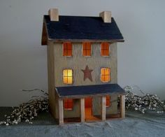 Lighted Primitive Houses and Lighted Saltbox Houses by Raystown Primitives