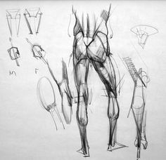 conceptlibrary:  Figure drawing notes of Kevin Chen, one of the best character design teachers in the industry. His analytical approach of t... Drawing Legs, Human Drawing, Anatomy Drawing, Hip Anatomy, Anatomy Sketches, Body Sketches, Anatomy Study, Human Anatomy, Drawing Sketches