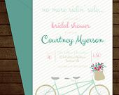 Printable Fun Bicycle Bridal Shower Invitation-Print Yourself-Digital Invite