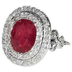 Edwardian Burmese Ruby Diamond Platinum Ring | From a unique collection of vintage engagement rings at https://www.1stdibs.com/jewelry/rings/engagement-rings/