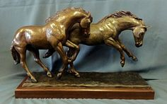 Sculpture - Two Running Horses - Frolick by Kim Corpany