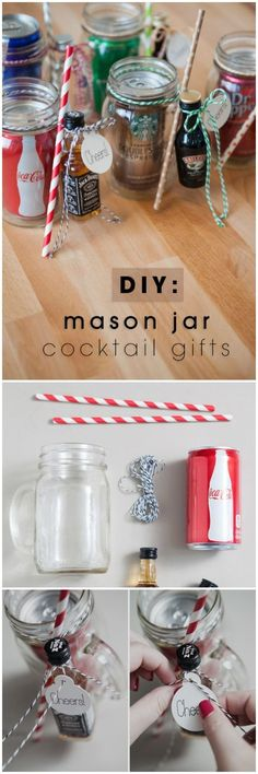 These DIY Mason jar cocktail gifts are the best Christmas gifts for adults especially when you want to send your friends a couple of things. The mini bottles of booze with a mixer, straws and of course Christmas riibons are required for this project.