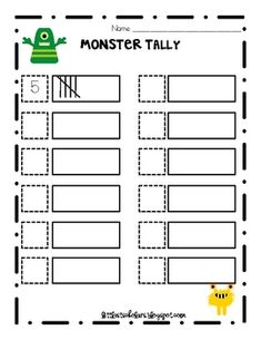 Monster FREEBIE Great math station to practice tallying. Choose a monster card, write the number and draw the tally. FREEBIEGreat math station to practice tallying. Choose a monster card, write the number and draw the tally. Math Classroom, Kindergarten Math, Teaching Math, Teaching Ideas, Classroom Ideas, Teaching Tools, Math Stations, Math Centers, Work Stations