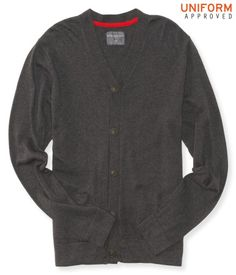 """Those first-day-of-school jitters will melt away when you catch a glimpse of your reflection in our Solid Uniform Cardigan! It's designed in a versatile solid color that layers perfectly over woven shirts; classic deets like a button-down front and two hand pockets keep you looking so fly.<br><br>Authentic fit. Approx. length (M): 27.5""""<br>Style: 8482. Imported.<br><br>55% cotton, 15% wool, 15% polyester, 15% nylon.<br>Machine wash/dry flat."""