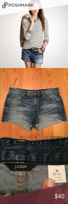 "J. Crew Denim Short in Shake it Wash, Size 28, EUC J. Crew Denim Shorts in Shake it Wash, Size 28  -Excellent, like new condition, only worn once -Measures laying flat: waist ~16.5"" -From a pet & smoke free home -Any questions, please ask!  J. Crew describes: Washed for softness and perfectly frayed so it looks like you've loved it for years. Cotton denim. City fit—our lowest rise. J. Crew Shorts Jean Shorts"