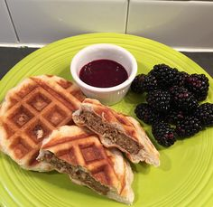 Waffle biscuits with Morning Star Farms Original Sausage Patties with blackberry sauce & fresh blackberries