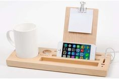 Desk Phone Holder - The Handmade Wooden Desk Organizer with Phone Stand and Cup Holder The Handmade Wooden Desk Organizer with Phone Stand and Cup Holder Iphone Holder, Iphone Stand, Iphone Phone, Desk Organization Diy, Diy Desk, Organizing, Organization Station, Iphone S6 Plus, Wooden Desk Organizer