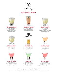 TY KU Sake Cocktail Recipes