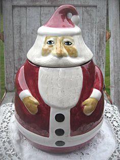 Vintage Santa cookie jar, mint cookie jar, Laurie Gates Los Angeles Pottery, Christmas cookie jar, collectible cookie jar holiday cookie jar