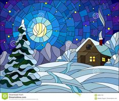 Stained Glass Illustration Winter Landscape, Village House And Fir-tree On A Background Of Snow, Starry Sky And Moon - Download From Over 54 Million High Quality Stock Photos, Images, Vectors. Sign up for FREE today. Image: 82861733