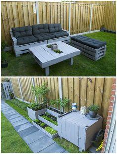 Garden Couch And Closet #Couch, #PalletLounge, #PalletPlanter, #PalletSofa