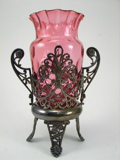 5 x 3 on Jul 2007 Number 19, Cranberry Glass, Celery, Vases, Silver Plate, Glass Art, Auction, Pottery, Pink