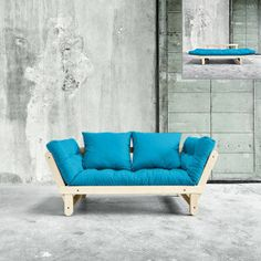 Divano letto Beat   con 2 cuscini   blu orizzonte, colore naturale   162/200 x 80 cm