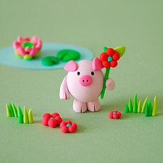 This really cute little pig is easily made with Fimo moulding clay.