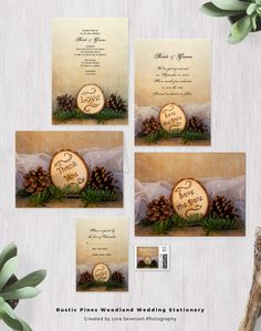 Set a casual yet classy tone for your upcoming natural woods theme marriage ceremony and reception with the charming Rustic Pines Woodland Wedding Stationery Set. Choose from wedding invitations, RSVP cards, save the dates, thank you note cards and photo cards with matching postage stamps. These informal and elegant custom wedding paper products feature brown pine cones, green pine tree branches, wood slices and a white bridal veil with a beige burlap background. #woodlandwedding…