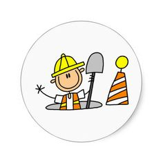 Construction Worker in Manhole Stickers