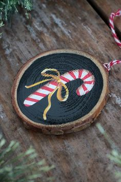 Items similar to Wood Slice Ornament, Candy Cane Ornament, Personalized Christmas Ornament, Primitive Christmas Decor on Etsy – Candy Cane Painted Christmas Ornaments, Christmas Ornament Crafts, Wood Ornaments, Personalized Christmas Ornaments, Xmas Crafts, Handmade Christmas, Christmas Decorations, Primitive Christmas Crafts, Christmas Porch