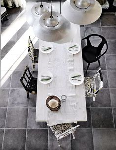 . Dining table . Rustic lime washed refectory table