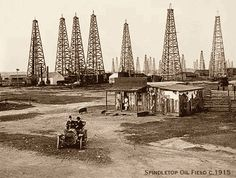 1901: Captain A F Lucas strikes oil while drilling on Spindletop Hill, three miles north of Beaumont. Wells in Corsicana and Nacogdoches had been producing modest amounts of oil, but with the discovery at Spindletop, the oil boom in Texas was born. Texas joined the Industrial Age (and created a few multi-millionares along the way).