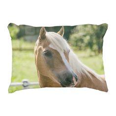 Beautiful haflinger horse portrait accent pillow - portrait gifts cyo diy personalize custom