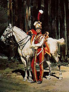 Edouard Detaille - Trompette des lanciers rouges en grande tenue. Musée royal de l'Armée belge, Bruxelles.