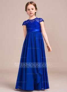 [R$ 333.25] Vestidos princesa/ Formato A Longos Vestidos de Menina das Flores - Tecido de seda/Charmeuse/Renda Manga curta Decote redondo com Curvado (010096123)