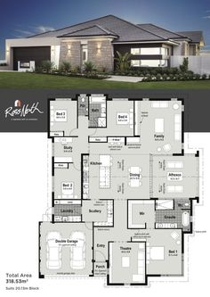Small Modern House Plans One Floor. 20 Small Modern House Plans One Floor. Home Design with 4 Bedrooms House Layout Plans, Bedroom House Plans, Dream House Plans, House Layouts, Modern House Floor Plans, Modern House Design, Perth, Small Modern Home, House Blueprints