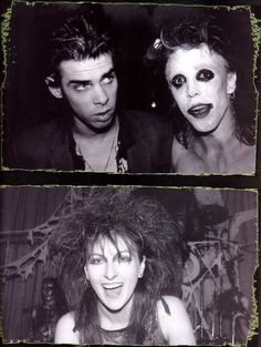 "theorderovdeath: ""Nick Cave, Nik Fiend and Mrs. Fiend at The Batcave club in London (1982) """
