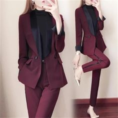 Grwomen item typepant suits styleoffice lady sleeve lengthcmfull materialpolyester pant closure typebutton fly closure typedouble breasted brand namezeongro collarv-neck is_customizedno clothing lengthregular material compositionpolyester model numbertb Suit Fashion, Look Fashion, Fashion Outfits, Fashion Black, Classy Outfits, Cute Outfits, Suits Harvey, Suits Tv Shows, Slim Suit