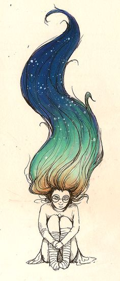 i like the concept of the hair, could do a painting version where the girl in sleeping in clouds and as her hair flows down they turn into a night sky