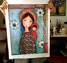 New! Only one available! Blue Veil Madonna  Large Print on Fabric from by FlorLarios, $45.00