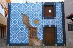 Azulejo street art by Diogo Machado in Cascais