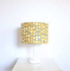 Yellow grey and white martini style fabric lampshade for table or floor lamps