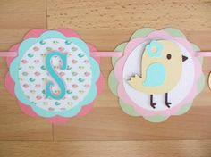 Pastel Bird Chick It's a Girl Baby Shower Birthday Party Banner Sign Pink Aqua Green Yellow Party Decorations Decor