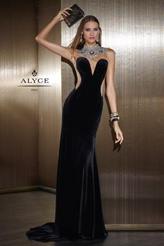 Alyce Claudine 2502 Velvet Gown with Illusion - French Novelty d21c803a3