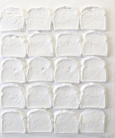 Chris Martin, White Bread, Acrylic and polymer medium on bread on wood, 24 x 20 in. Courtesy of the artist and Mitchell-Innes & Nash, New York. All White, White Art, Pure White, Snow White, White Light, Juan Sanchez Cotan, Things Organized Neatly, Blanco White, Chris Martin