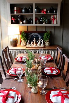 porch table for Christmas at Talk of the House