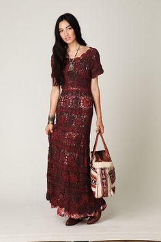 Outstanding Crochet: Free People. Crochet Maxi Dress.