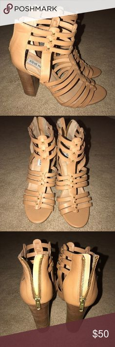 Steve Madden Heels, Tan in Size 7.5 Steve Madden Heels, Tan in Size 7.5. Worn, at most, 4 times. Cute gold studs on them. Steve Madden Shoes Heels