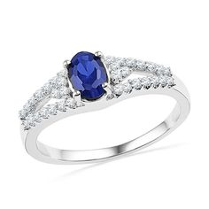 10kt White Gold Womens Oval Lab-Created Blue Sapphire Solitaire Diamond Fashion Ring 1.00 Cttw