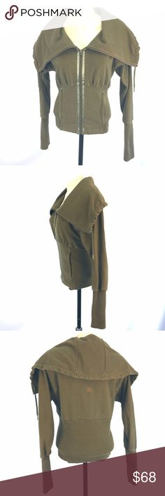 """Lululemon Coursette Corset Sz 6 Olive Green Jacket * Hard-to-find Coursette/Corset full zip jacket by Lululemon;  size is 6; tear tag is present; color is olive green/brown  * Wide collar that can be styled like a shawl collar or big funnel collar; satin trim on zipper placket; narrow banding highlights waist and wrists  * Please refer to flat measurements below and photos for item details  Flat Measurements: Size: 6 Shoulder-shoulder: NA Armpit-armpit: 20"""" Waist: 14.5"""" Overall drop: 21""""…"""