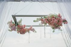 FH Weddings & Events Justin DeMutiis Photography - pink and white flower chandelier